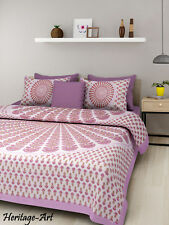 Indian Rajasthani Handmade Hand Block Print Bed Sheet With Two Pillow Covers