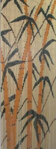 == Bamboo Beaded Door Screen Curtain - Yellow Bamboos Trees - Rideau Bambou ===