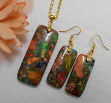 Natural sea sediment jasper gemstone jewellery gold plated necklace earrings