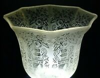 VINTAGE LIGHT SHADE GLASS CLEAR FROSTED SATIN FLORAL ETCHED LAMP GLOBE