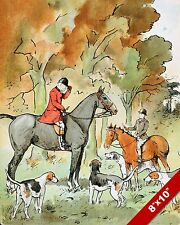 MEETING THE HUNTSMAN FOX HUNT HORSE FOXHUNTING HUNTING ART PAINTING CANVAS PRINT