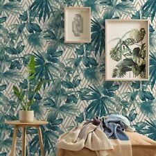 Grandeco Forage Teal Gold White Geometric Tropical Jungle Leaves Wallpaper