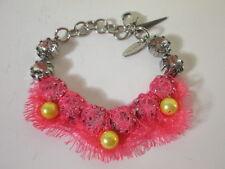 JOOMI LIM Crystal pink lace Yellow bead Chain Bracelet NWOT $150