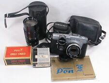 OLYMPUS PEN F Outfit. Half-frame camera, 38mm, 50-90mm zoom, meter, finder more!