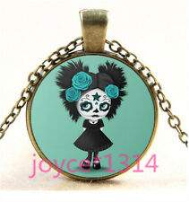 Sugar Flower Girl Cabochon bronze Glass Chain Pendant Necklace TS-6212