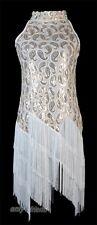 1920's Flapper Dress White Clubwear Great Gatsby Sequin Tassel One Size AF 3225