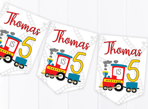 Personalised Train Happy Birthday Bunting, Children's Party Banner - Any Age