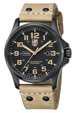 Luminox Men's A.1925 Atacama Field Day-Date Black PVD Tan Leather Watch 1925