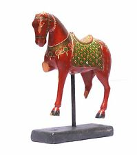 Indian Old Vintage Hand Carved Decorative Wooden Painting Horse Stand WD 011