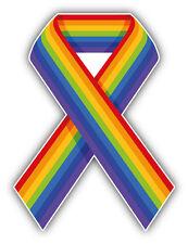 LGTB Gay Pride Rainbow Ribbon Car Bumper Sticker Decal 4'' x 5''
