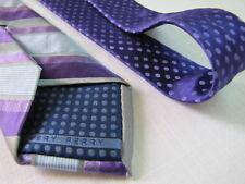 PERRY ELLIS SLIM Silk Necktie Purple Stripe 2 tone Dots Designer Tie VERY PERRY