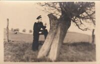 1950s Handsome young man solder Red Army guy tree Russian Soviet photo gay int