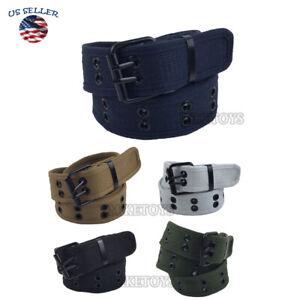 New Cotton Canvas Double Grommet Hole Buckle Belt Men Women Causal Jeans