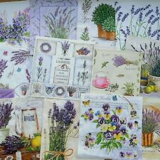"Lot of 12 Paper Napkin For Decoupage set 33  x  33sm  13""x 13"" lavanda"