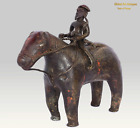 Indian Decor Antique Sculpture Brass Warrior Riding Horse Figurine. G7-894
