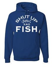 Shut Up And Fish Funny Sweatshirt Fishing Gift Hoodie Hobby Camping Bass Catfish