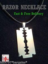 "Razor Blade Bohemian Punk Pendant on 18"" + Adjustable Leather Necklace  c1box"