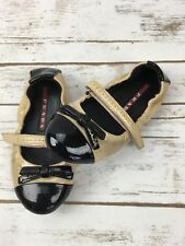 Girls Prada Ballet Flats Patent Leather Ballerina Scrunch Shoes Nude Black 24 8