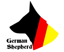 GERMAN FLAG GERMAN SHEPHERD VEHICLE STICKER DECAL          (s747)
