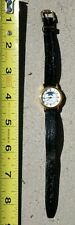 Tissot Wrist Watch Gold Tone Black Leather Band Quartz