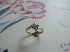 9ct Gold  Square Stone Ring Size N 1/2