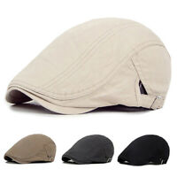 Solid Cotton Gatsby Cap Golf Driving Sun Flat Cabbie Beret Newsboy Ivy Mens Hat