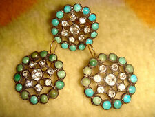 VICTORIAN 14K GOLD SILVER & PERSIAN TURQUOISE FRENCH PASTE EARRINGS RING 6+ SET