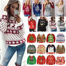 Damen Weihnachten Kapuzenpullover Hoodies Sweatshirt Pullover Pulli Sweater Top