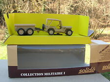SOLIDO 1/43 METAL MILITAIRE JEEP willys +REMORQUE 2 essieux  bachée SABLE