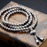 Outdoor 108 Buddha Beads Necklace Chain Titanium Steel Metal Whip Self Defense
