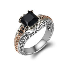 Gorgeous Rose Gold Filled Wedding Rings 2.10ct Black Sapphire Rings Size 6-10