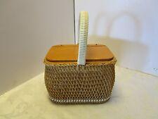 Vintage Wicker handbag box purse Germany acrylic inside Vinyl handle Mod retro
