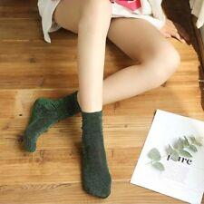 Winter Long Socks Women Ladies Plain Girls Shiny Loose Glitter Sock KV