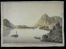 NONNENWERTH BURG ROLANDSECK RHEIN GROßE UMRIßRADIERUNG JOSEPH IGNAZ HÖRMANN 1810