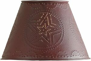 "Punched Metal Farmhouse Primitive Rustic Metal Lamp Shade 10"" Red Barn Star"