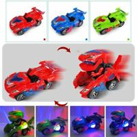 Transforming Dinosaur LED Car Figures With Light Sound for Kids Xmas Gift Boxed