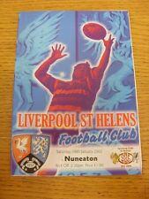 Programa de Unión de Rugby 19/01/2002: Liverpool St Helens V Nuneaton. fútbol Progs/Bo