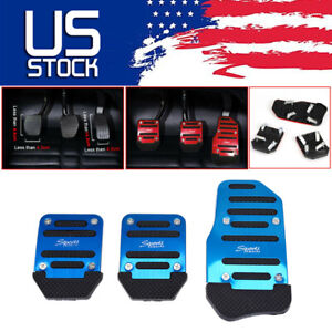 Blue 3 in 1 Universal Aluminum Non-slip Pedals Pad Cover Set for Manual Car US