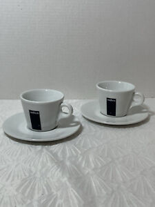 (2) Lavazza Logo Espresso Cups And Saucers Set (4 pieces) made in Italy blue