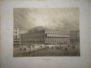 GRANDE LITHO VUE ANIMÉE BORDEAUX GRAND THÉÂTRE GIRONDE NAPOLEON III 1860
