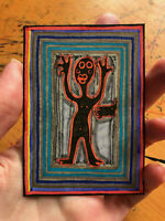 Original ACEO Drawing by Jay Snelling. Outsider Art Brut. Man, figure, foot