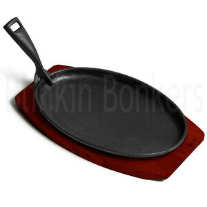 STEAK SERVING DISH SIZZLING SIZZLER PLATE WOODEN BASE BOTTOM OVEN TO TABLE UK
