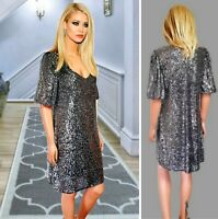 F&F PARTY DRESS SIZE 12 SILVER FULL SEQUINED SHORT SLEEVE SHIFT OVER KNEE #32