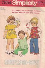 Simplicity 7854 Toddler Dress or Top & Pants Size 2 2T Vintage 1977