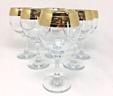 Crystal Glass Set of 6  Wine Champagne  8 oz Gold Greek Key Plated Rimmed Design