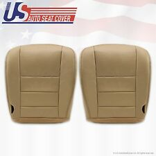 02 to 07 Ford F250 F350 Lariat Driver & Passenger Bottom Leather Seat Covers TAN
