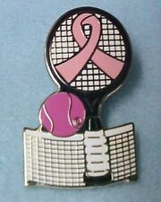 Breast Cancer Pink Ribbon Tennis Racket Net Silver Plated Lapel Pin Tac New