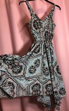 """H&M Size 2 XS/S? 30"""" Bust Baby Blue Black Flare & Flowing Bottom Dress NN21"""