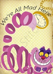 We're All Mad Here Cheshire Cat Collage 8x10 Quilters and Craft Fabric Block