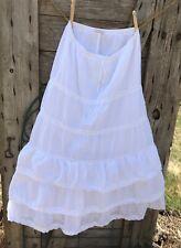 Prairie Hippie Boho Skirt White Flowy Tiered Medium Crochet lace trim